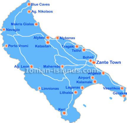 Map Of Zante Zakynthos Greece   Zante Map Map Of Zante